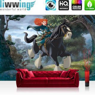 liwwing Fototapete 254x184cm PREMIUM Wand Foto Tapete Wand Bild Papiertapete - Kindertapete Disney - Merida Tapete Merida Wald Schloss Pferd bunt - no. 3493
