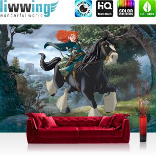 liwwing Vlies Fototapete 416x254cm PREMIUM PLUS Wand Foto Tapete Wand Bild Vliestapete - Kindertapete Disney - Merida Tapete Merida Wald Schloss Pferd bunt - no. 3493