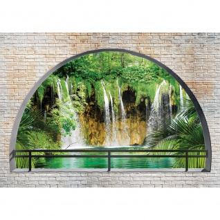 Fototapete Steinwand Tapete Wand Steine Wasserfall Paradies Felsen Natur grün | no. 1260