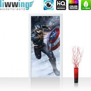 liwwing Vlies Türtapete 91x211 cm PREMIUM PLUS Tür Fototapete Türposter Türpanel Foto Tapete Bild - MARVEL Avengers Captain America Kindertapete Comic - no. 1139