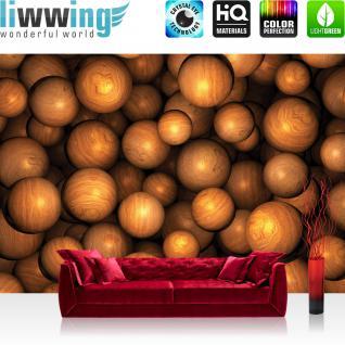 liwwing Fototapete 254x184cm PREMIUM Wand Foto Tapete Wand Bild Papiertapete - 3D Tapete Perlen Kugeln Murmeln Holz braun - no. 3291