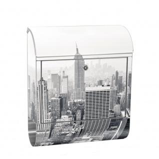 Edelstahl Wandbriefkasten XXL mit Motiv & Zeitungsrolle | New York City USA Amerika Empire State Building | no. 0118
