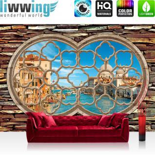 liwwing Vlies Fototapete 350x245 cm PREMIUM PLUS Wand Foto Tapete Wand Bild Vliestapete - Venedig Tapete Fenster Wasser Stadt Venedig Kathedrale Gondeln Stein blau - no. 566