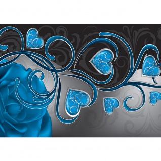 Fototapete Blumen Tapete Herzen Blume Blüten Rose blau   no. 1567
