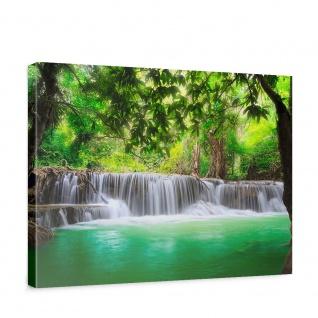 Leinwandbild Deep Forest Waterfalls Wasserfall Bäume Wald Thailand See Wasser Meer   no. 67