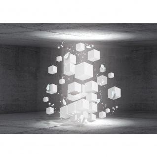 Fototapete 3D Tapete Raum Steinwand Steine Rechtecke Würfel Federn 3D Optik grau   no. 2046