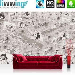 liwwing Vlies Fototapete 416x254cm PREMIUM PLUS Wand Foto Tapete Wand Bild Vliestapete - Disney Tapete Micky Maus Cartoon Comic Freunde Pluto Mickey Mouse Kindertapete grau - no. 2136