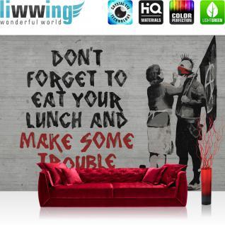 liwwing Fototapete 368x254 cm PREMIUM Wand Foto Tapete Wand Bild Papiertapete - Steinwand Tapete Steinoptik Gemälde Graffiti Anarchy grau - no. 2880