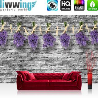 liwwing Fototapete 368x254 cm PREMIUM Wand Foto Tapete Wand Bild Papiertapete - Steinwand Tapete Stein Steinoptik Steine Lavendel Pflanzen grau - no. 1619