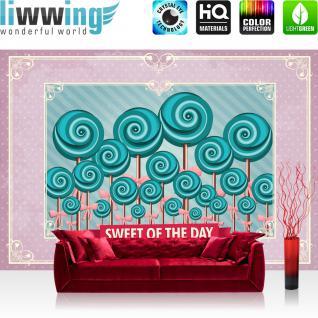 liwwing Vlies Fototapete 416x254cm PREMIUM PLUS Wand Foto Tapete Wand Bild Vliestapete - Speisen Tapete Lollypop Illustration Ornamente lila - no. 1245