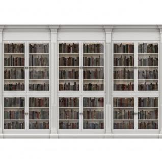 Fototapete Kunst Tapete Bücher Rahmen Schrank Vitrine weiß | no. 2297