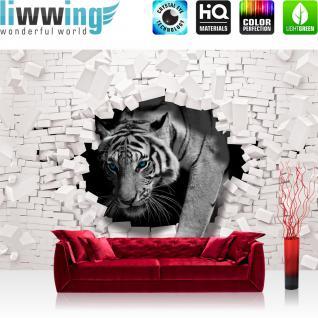 liwwing Vlies Fototapete 208x146cm PREMIUM PLUS Wand Foto Tapete Wand Bild Vliestapete - Tiere Tapete Tiger Mauer Durchbruch schwarz - weiß - no. 3309