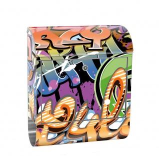 Edelstahl Wandbriefkasten XXL mit Motiv & Zeitungsrolle   Kinderzimmer Graffiti Streetart Sprayer 3D bunt   no. 0221