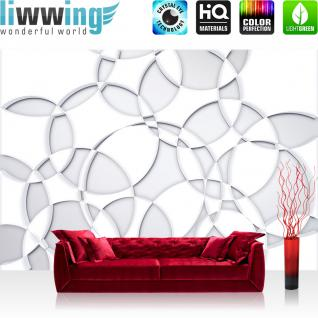 liwwing Vlies Fototapete 300x210 cm PREMIUM PLUS Wand Foto Tapete Wand Bild Vliestapete - 3D Tapete Abstrakt Kreise Mandala Muster Design 3D Optik weiß - no. 899
