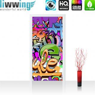 liwwing Vlies Türtapete 100x211 cm PREMIUM PLUS Tür Fototapete Türposter Türpanel Foto Tapete Bild - Kinderzimmer Graffiti Streetart - no. 221