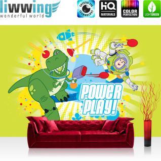 liwwing Fototapete 254x168 cm PREMIUM Wand Foto Tapete Wand Bild Papiertapete - Cartoon Tapete Disney Toy Story Kindertapete Buzz Lightyear Dinosaurier TRex bunt - no. 2514