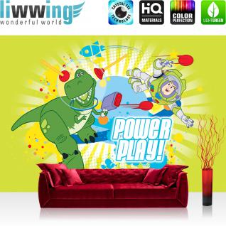 liwwing Fototapete 368x254 cm PREMIUM Wand Foto Tapete Wand Bild Papiertapete - Cartoon Tapete Disney Toy Story Kindertapete Buzz Lightyear Dinosaurier TRex bunt - no. 2514