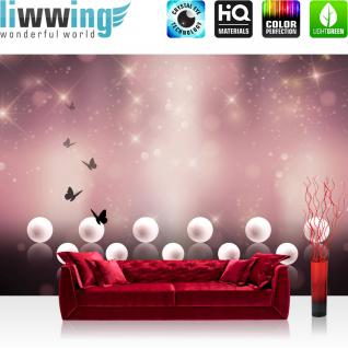 liwwing Vlies Fototapete 254x184cm PREMIUM PLUS Wand Foto Tapete Wand Bild Vliestapete - Illustrationen Tapete Schmetterlinge Sterne Perlen lila - no. 3201