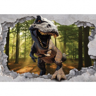 Fototapete Natur Tapete Loch Kunst Mauer Dinosaurier Sonne Blick Ausblick Wald Baum 3D grün | no. 4332