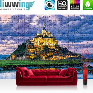 liwwing Fototapete 368x254cm PREMIUM Wand Foto Tapete Wand Bild Papiertapete - Frankreich Tapete Le Mont-Saint-Michel Puzzle Meer Küste bunt - no. 3243