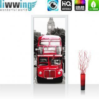 liwwing Türtapete selbstklebend 91x211 cm PREMIUM PLUS Tür Fototapete Türposter Türpanel Foto Tapete Bild - London Bus - no. 286