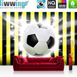 liwwing Vlies Fototapete 400x280 cm PREMIUM PLUS Wand Foto Tapete Wand Bild Vliestapete - Fußball Tapete Fussball Ball Sterne Soccer Schwarz Gelb schwarz - no. 1035