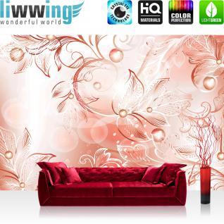 liwwing Vlies Fototapete 208x146cm PREMIUM PLUS Wand Foto Tapete Wand Bild Vliestapete - Ornamente Tapete Kunst Perlen Kugeln Blätter Schwung Bewegung rot - no. 1442