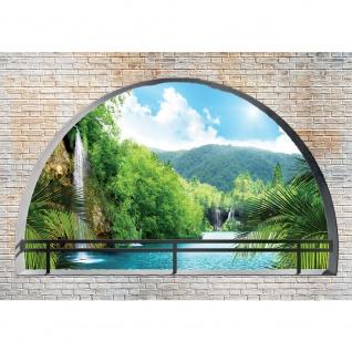 Fototapete Steinwand Tapete Paradies Meer Landschaft Wasserfall Palmen Pflanzen blau | no. 2019