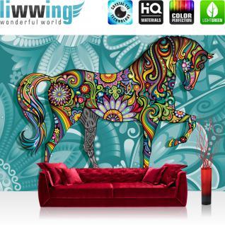liwwing Fototapete 368x254 cm PREMIUM Wand Foto Tapete Wand Bild Papiertapete - Kunst Tapete Pferd Tier Blumen Blätter Farben Abstrakt beige - no. 2535