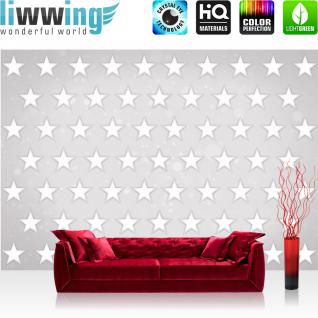 liwwing Vlies Fototapete 312x219cm PREMIUM PLUS Wand Foto Tapete Wand Bild Vliestapete - 3D Tapete Kunst Abstrakt Design Sterne Wand 3D Optik weiß - no. 1505