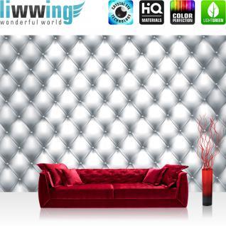 liwwing Fototapete 368x254 cm PREMIUM Wand Foto Tapete Wand Bild Papiertapete - Texturen Tapete Kunst Design Rechtecke Punkte Muster grau - no. 3003