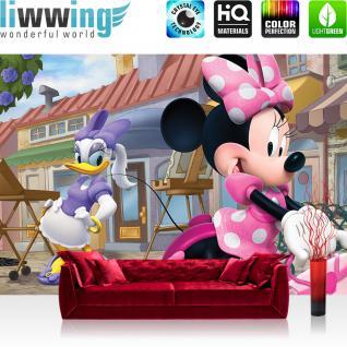 liwwing Fototapete 368x254 cm PREMIUM Wand Foto Tapete Wand Bild Papiertapete - Illustrationen Tapete Disney Micky Maus Mickey Mouse Minnie Mouse Daisy Cartoon bunt - no. 1831