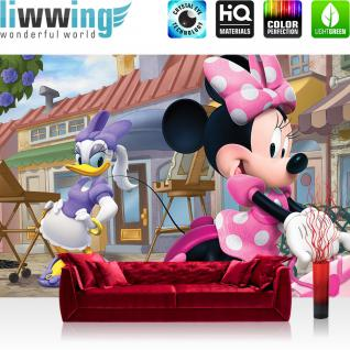 liwwing Vlies Fototapete 416x254cm PREMIUM PLUS Wand Foto Tapete Wand Bild Vliestapete - Illustrationen Tapete Disney Micky Maus Mickey Mouse Minnie Mouse Daisy Cartoon bunt - no. 1831