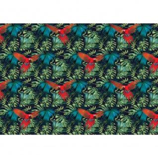 Fototapete Gemälde & Kunstwerke Tapete Abstraktion Design Papagei Vogel Blatt Palme bunt | no. 4386