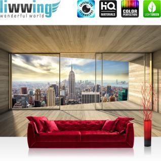 liwwing Fototapete 368x254 cm PREMIUM Wand Foto Tapete Wand Bild Papiertapete - New York Tapete Raum Holz Skyline Manhattan New York natural - no. 3139