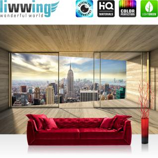 liwwing Vlies Fototapete 416x254cm PREMIUM PLUS Wand Foto Tapete Wand Bild Vliestapete - New York Tapete Raum Holz Skyline Manhattan New York natural - no. 3139