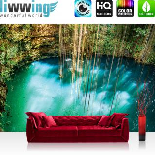 liwwing Fototapete 254x168 cm PREMIUM Wand Foto Tapete Wand Bild Papiertapete - Wasser Tapete Fische Felsen Paradies blau - no. 1354
