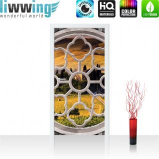 liwwing Türtapete selbstklebend 91x211 cm PREMIUM PLUS Tür Fototapete Türposter Türpanel Foto Tapete Bild - Fenster Stadt Skyline Lightning - no. 565