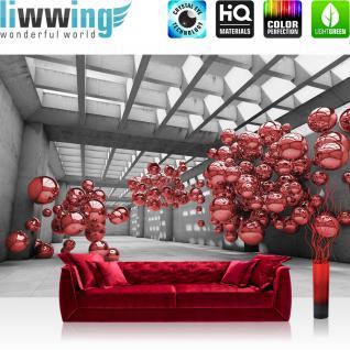 liwwing Vlies Fototapete 416x254cm PREMIUM PLUS Wand Foto Tapete Wand Bild Vliestapete - Architektur Tapete Arkaden Seifenblasen Kugeln rot - no. 3248