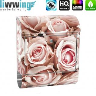 Edelstahl Wandbriefkasten XXL mit Motiv & Zeitungsrolle   Blumen Rose Blüten Natur Liebe Love Blüte Weiß   no. 0189 - Vorschau 2