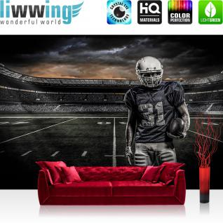 liwwing Vlies Fototapete 416x254cm PREMIUM PLUS Wand Foto Tapete Wand Bild Vliestapete - Sport Tapete Football American Football Helm Wolken Sport anthrazit - no. 2961