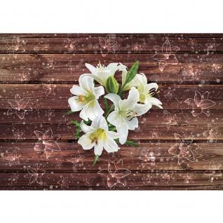 Fototapete Holz Tapete Holzwand Holzoptik Holz Lilie Blume Blüte braun | no. 2054
