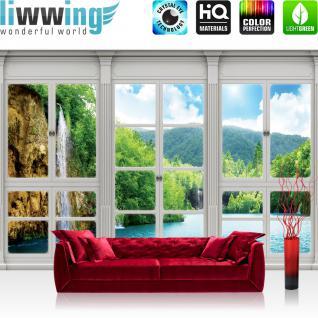 liwwing Vlies Fototapete 312x219cm PREMIUM PLUS Wand Foto Tapete Wand Bild Vliestapete - Wald Tapete Wasserfall See Laubwald Fenster natural - no. 3414