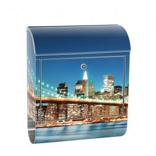 Edelstahl Wandbriefkasten XXL mit Motiv & Zeitungsrolle | New York City USA Amerika Empire State Building | no. 0179