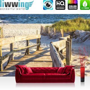 liwwing Vlies Fototapete 416x254cm PREMIUM PLUS Wand Foto Tapete Wand Bild Vliestapete - Landschaft Tapete Strand Meer Holz Treppe Wasser blau - no. 2643