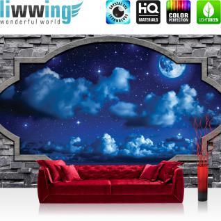 liwwing Vlies Fototapete 312x219cm PREMIUM PLUS Wand Foto Tapete Wand Bild Vliestapete - Himmel Tapete Nacht Himmel Steinwand Fenster Stein Mond blau - no. 1853