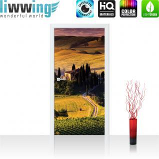 liwwing Türtapete selbstklebend 91x211 cm PREMIUM PLUS Tür Fototapete Türposter Türpanel Foto Tapete Bild - Feld Bäume Weg Abenddämmerung - no. 452