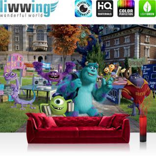 liwwing Vlies Fototapete 350x245 cm PREMIUM PLUS Wand Foto Tapete Wand Bild Vliestapete - Disney Tapete Disney - Monsters University Kindertapete Cartoon Monster Bücher blau - no. 965