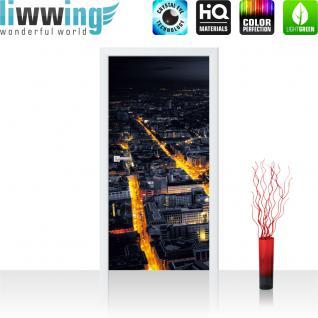 liwwing Vlies Türtapete 91x211 cm PREMIUM PLUS Tür Fototapete Türposter Türpanel Foto Tapete Bild - Panorama Skyline Häuser Straßen - no. 956