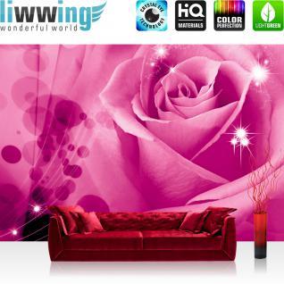 liwwing Fototapete 254x168 cm PREMIUM Wand Foto Tapete Wand Bild Papiertapete - Blumen Tapete Rose Blume Blüte Blätter Liebe Sterne pink - no. 2442